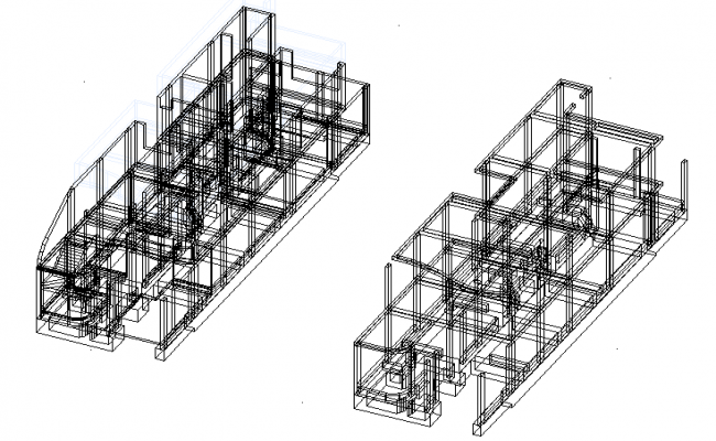 Isometric view house detail dwg file