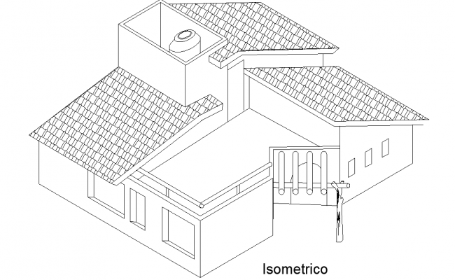 Isometric view house plan layout file