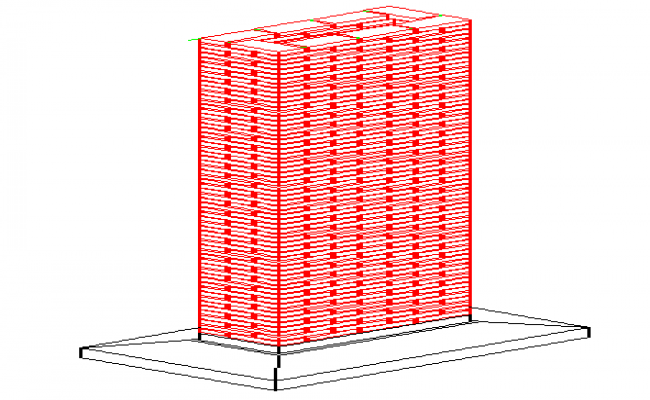Isometric view of Armed brick column design drawing
