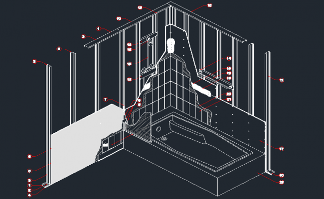 Isometric view of a bathroom in dwg file