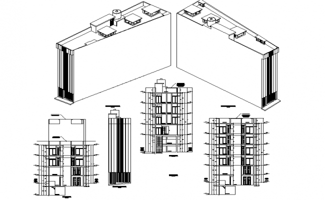 Isometric view of bar accommodation with elevation view dwg file