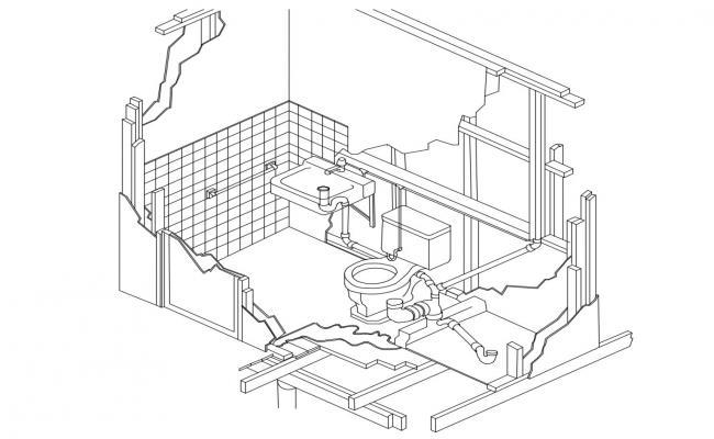 Isometric view of bathroom in autocad
