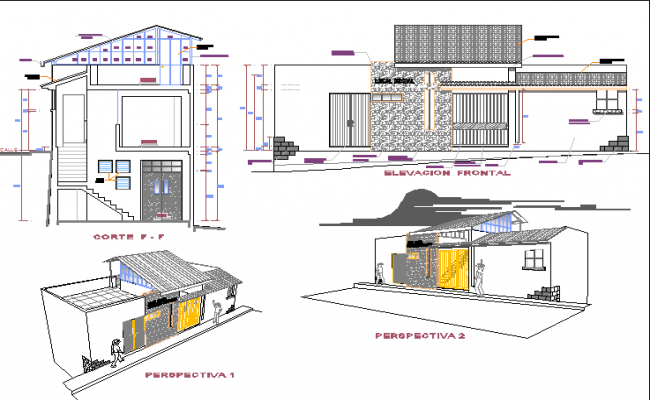 Isometric view of elevation and sections of community building dwg file
