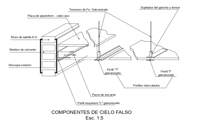 Isometric view of false ceiling with para fit view with construction view dwg file