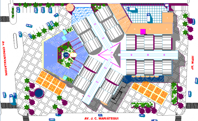 Isometric view of ground floor of shopping mall dwg file