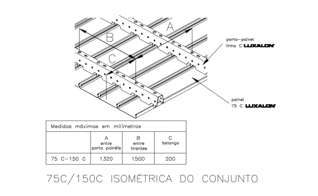 Isometric view of metal suspended ceiling with structure view dwg file