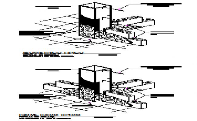 Isometric view of mooring blocks in steel columns