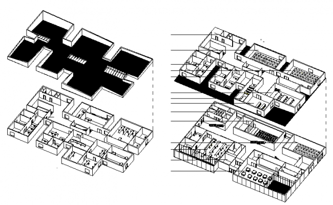 Isometric view of multi-flooring city school building dwg file