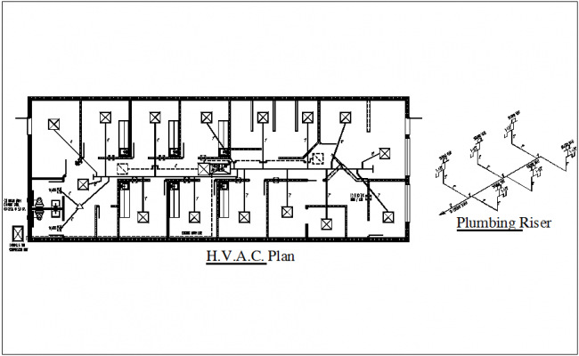 isometric view of plumbing riser and hvac plan dwg file. Black Bedroom Furniture Sets. Home Design Ideas