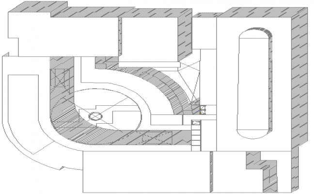 Isometric view of second floor of shopping center dwg file