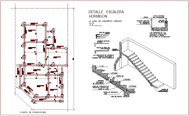 Isometric view of stair and foundation plan for property of residential with construction view dwg file
