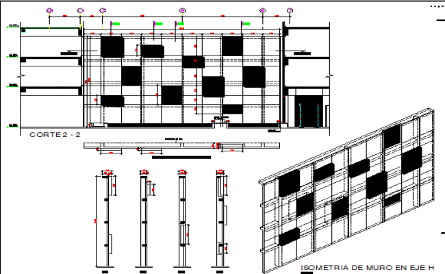 Isometric view of wall on axis of platinum square dwg file