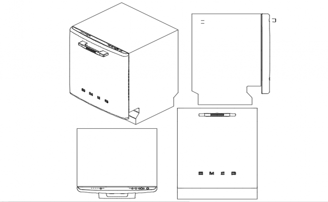 Isometric view of washing machine with plan,elevation and side view dwg file