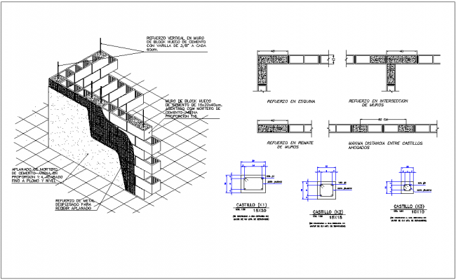 Isometric view with construction view with different wall joint with its construction dwg file