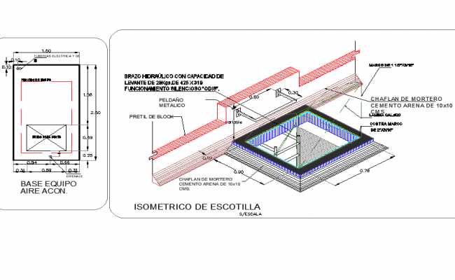 Isometric with section view of shop construction view dwg file