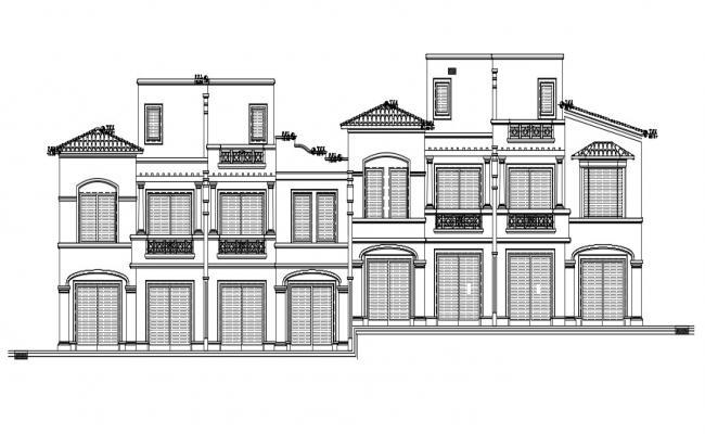 Joint House Elevation Design DWG File
