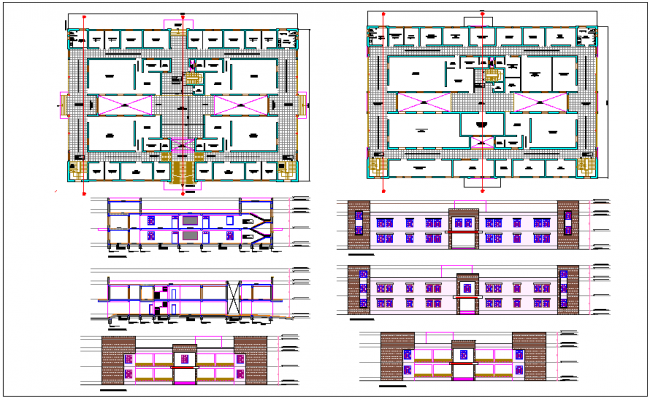 Judicial court detail plan view dwg file