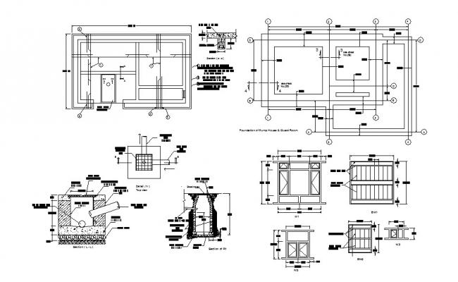Khurmal pump house foundation plan, section and construction details dwg file