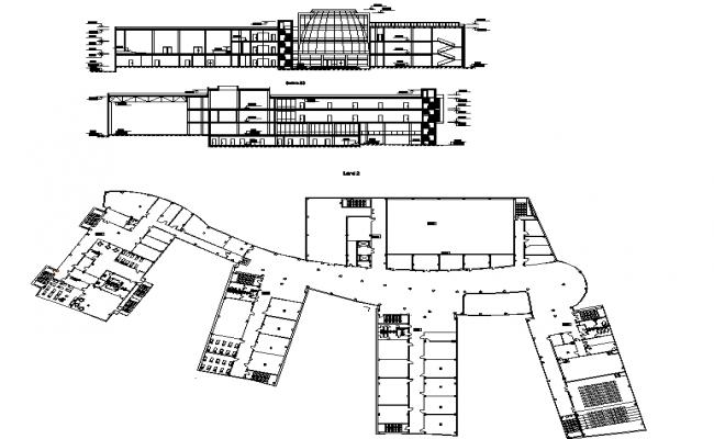 Kindergarten pre school elevation plan dwg file