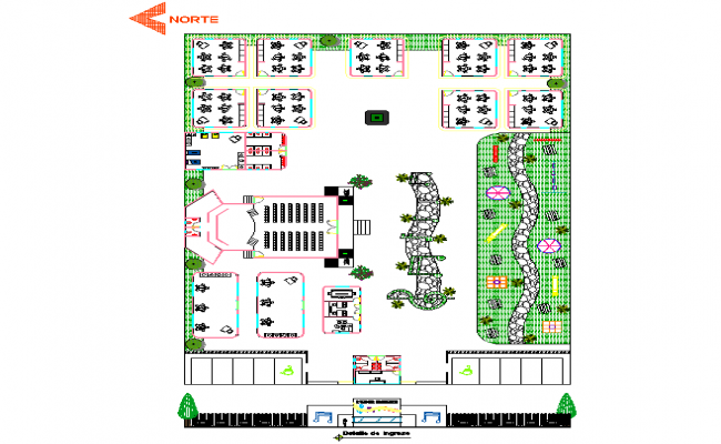 Kindergarten pre school layout plan dwg file