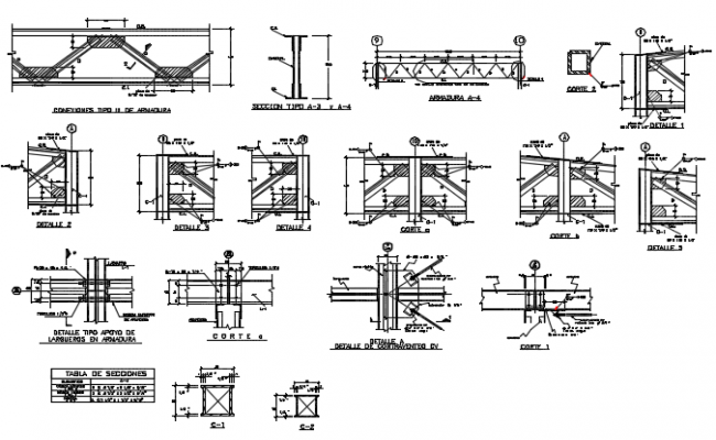 King post joint section detail dwg file