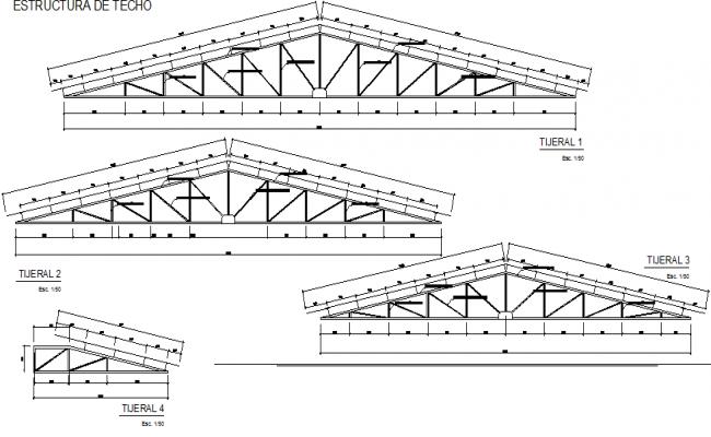King post section plan detail dwg file