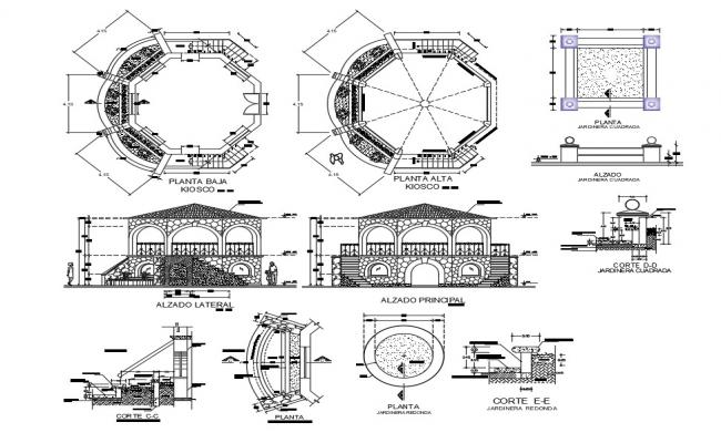 Kiosk of garden elevation, section, plan and auto-cad