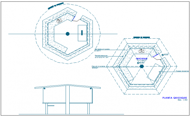 Kiosk of garden elevation and sectional view dwg file