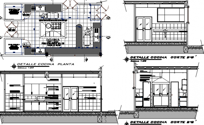 Kitchen Architecture Project of Hospital dwg file