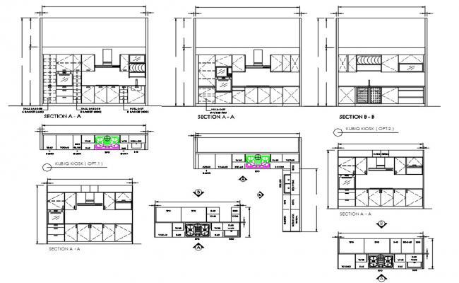 Kitchen Interior Elevation Design AutoCAD File