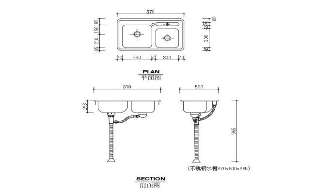 Kitchen Sink Details In AutoCAD File