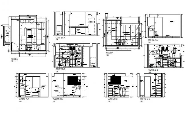 Kitchen all sided section, plan and auto-cad details dwg file