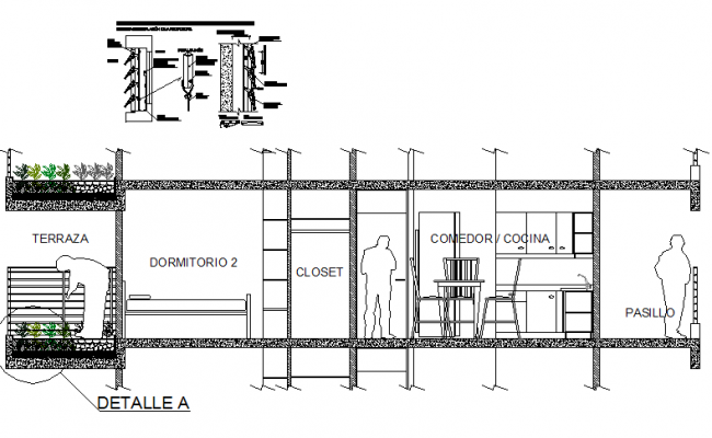 Kitchen and bed room section detail dwg file