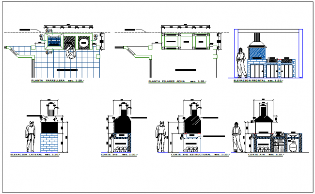 Kitchen and fireplace details of barbecue restaurant dwg file