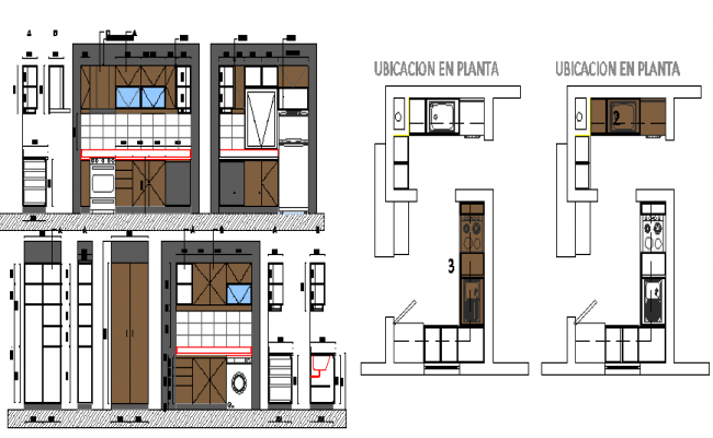 Kitchen and laundry furniture details of residential house dwg file