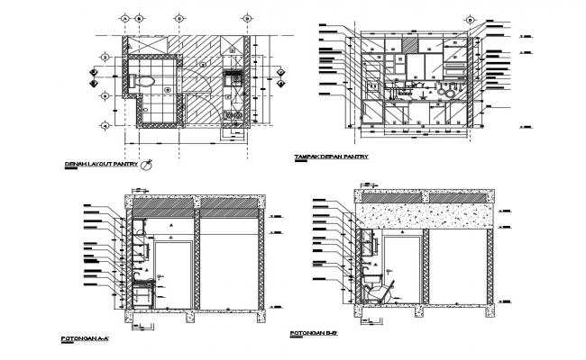 Kitchen and sanitary section, plan and installation cad drawing details dwg file
