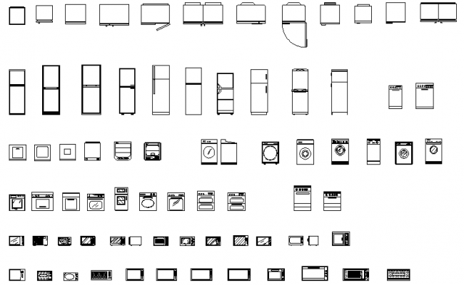 Kitchen appliances top , side , front view dwg file .