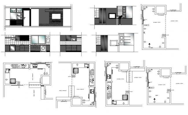 Kitchen Interior Design AutoCAD Drawings