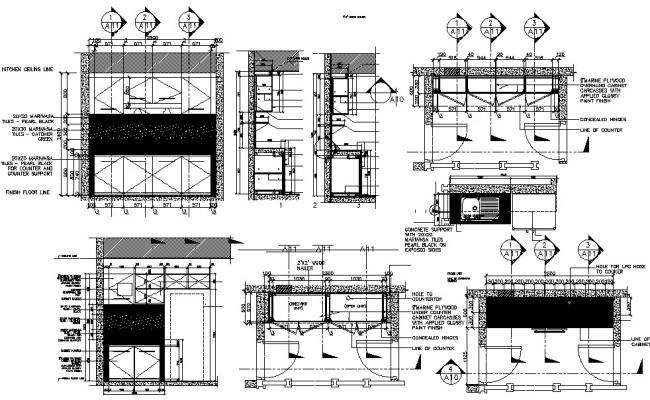 Kitchen design with detail dimension in autocad