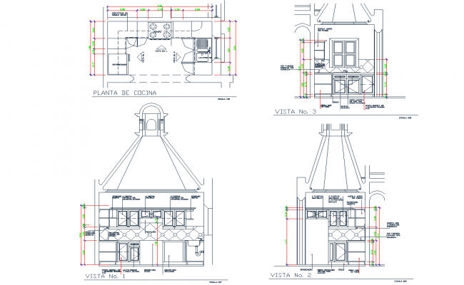 Kitchen Detail And Design For House Cad Files