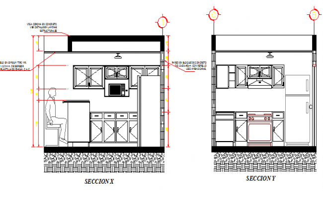 kitchen details with right and left side section dwg file