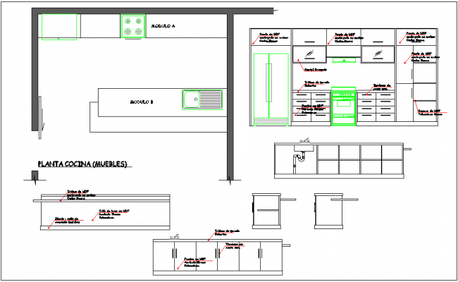 Kitchen floor furniture detail dwg file