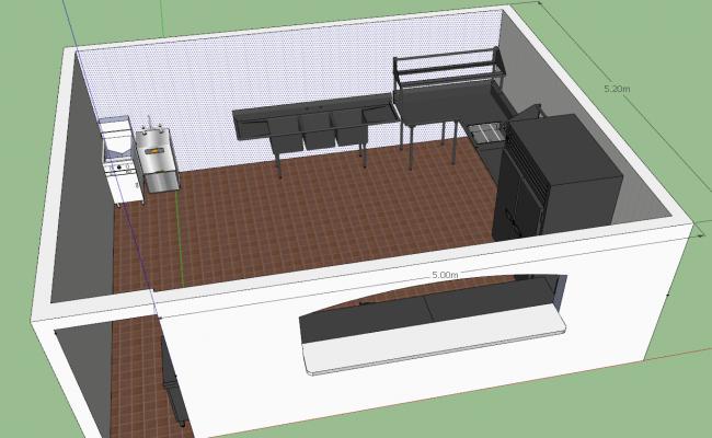 Kitchen interior 3d view skp file