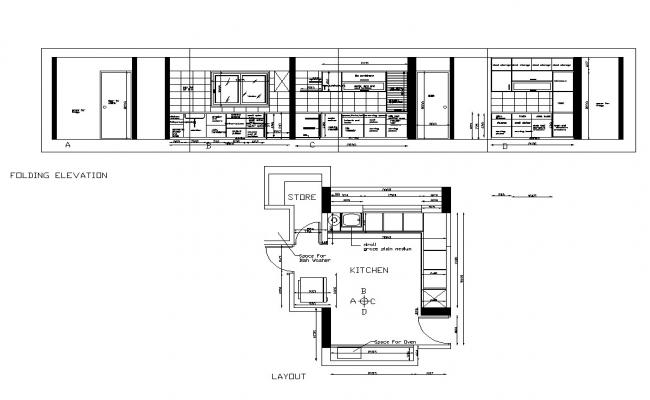 Kitchen interior elevation and plan 2d view CAD constructive block autocad file