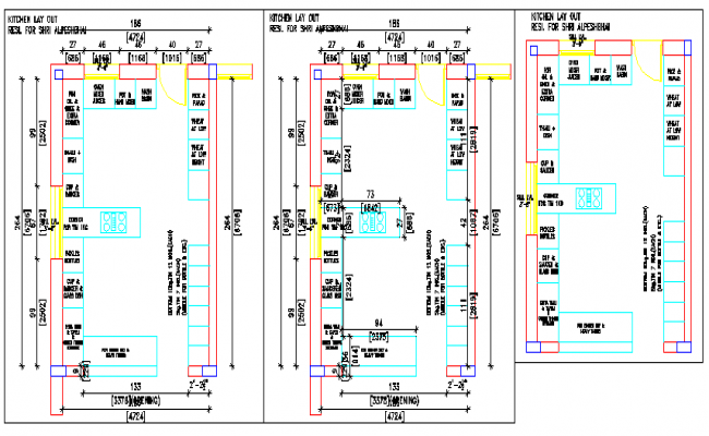Kitchen layout plan design for house