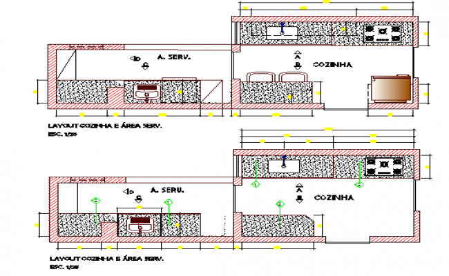 Kitchen layout plan details of apartment housing flats dwg file