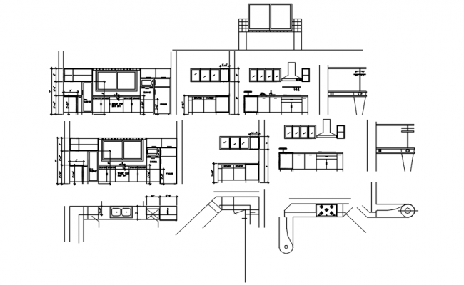 Kitchen layout with elevations in dwg file