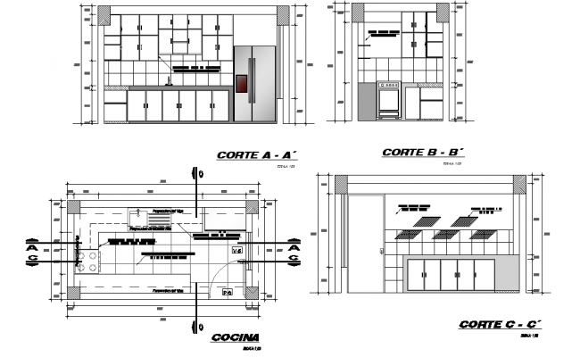 Kitchen plan and section autocad file