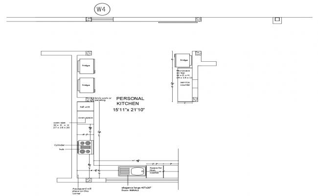 Kitchen platform layout in dwg file