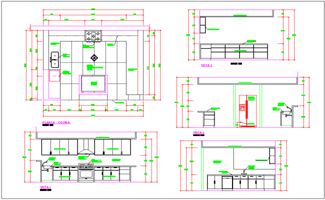 Kitchen Plan Elevation : Kitchen room detail plan elevation section view dwg file